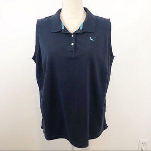 🌺3/$20 Eddie Bauer sleeveless polo navy/aqua 2X